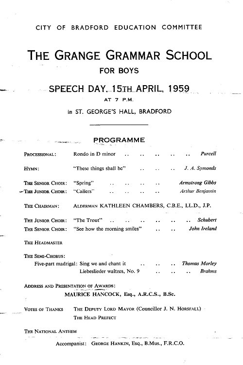 Speech Day 1959